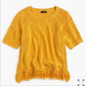 J.Crew Mustard Yellow Linen Fringe Sweater